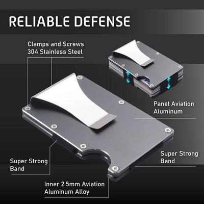 Insten Small RFID Blocking ID Credit Card Holder Minimalist Wallet for Men, Gray Aluminum