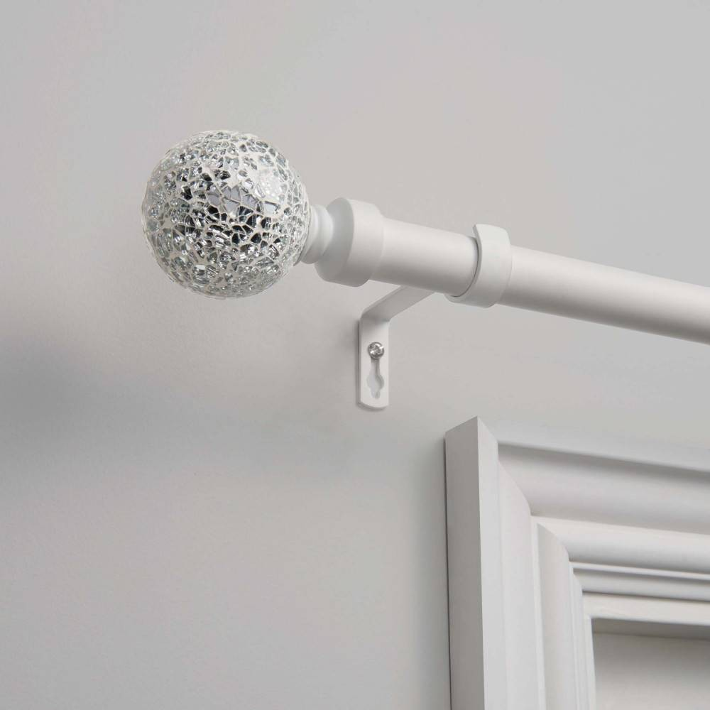"Image of ""120""""x66"""" Adjustable Curtain Rod and Coordinating Finial Set Matte Silver - Exclusive Home"""