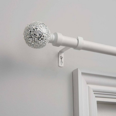 White Mosaic 1 Curtain Rod And Coordinating Finial Set Exclusive Home