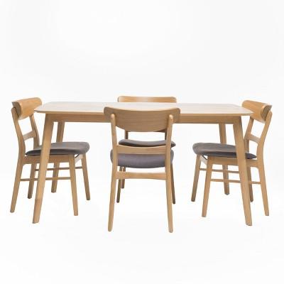 "5pc 60"" Idalia Mid-Century Modern Dining Set Oak Brown/Dark Gray - Christopher Knight Home"