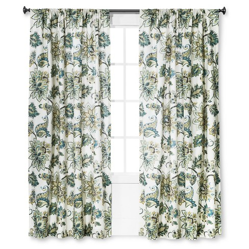 "Curtain Panel Greyson White, Green and Blue (55""x84"") - Homethreads™ - image 1 of 1"