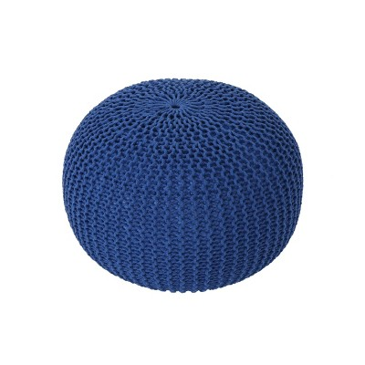 Abena Knitted Cotton Pouf Navy - Christopher Knight Home