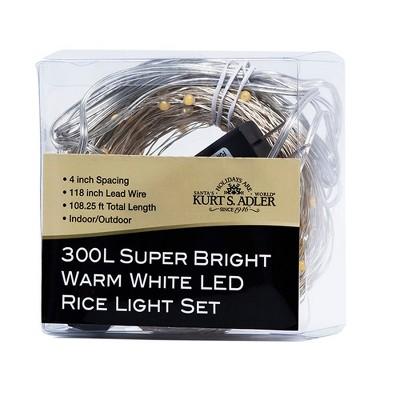 Kurt Adler 300-Light Warm White LED Rice Lights