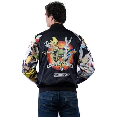 Members Only Mens Looney Tunes Mash Print Bomber Jacket