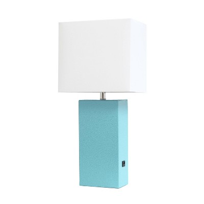 Modern Leather Table Lamp with USB and Fabric Shade Aqua - Elegant Designs