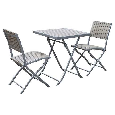 Gallant 3pc Metal Patio Folding Bistro Set - Gray - CorLiving - image 1 of 3