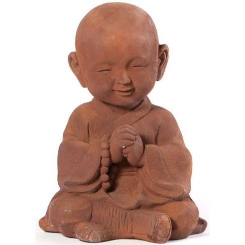 "13"" Indoor/Outdoor Resin Praying Buddha Garden Statue Orange - Alfresco Home LLC - image 1 of 4"