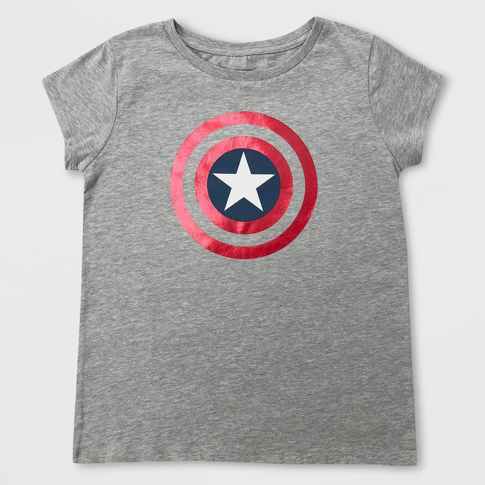 Plus Size Girls' Captain America Shield Short Sleeve T-Shirt - Heather Gray Xxl Plus