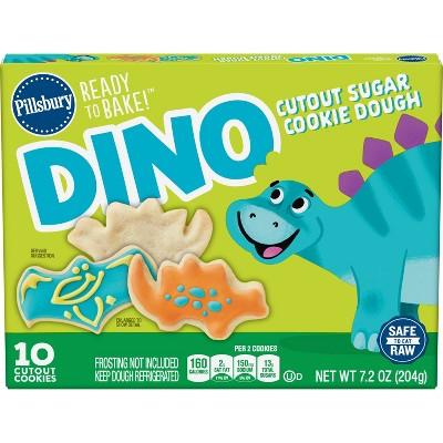 Pillsbury Ready to Bake Dino Cutout Sugar Cookie Dough - 7.2oz/10ct