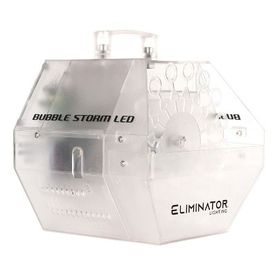 Eliminator Lighting Bubble Storm LED Indoor Outdoor Portable Electric Color Changing DJ Bubble Machine with Multi Color Effect and Power Cord