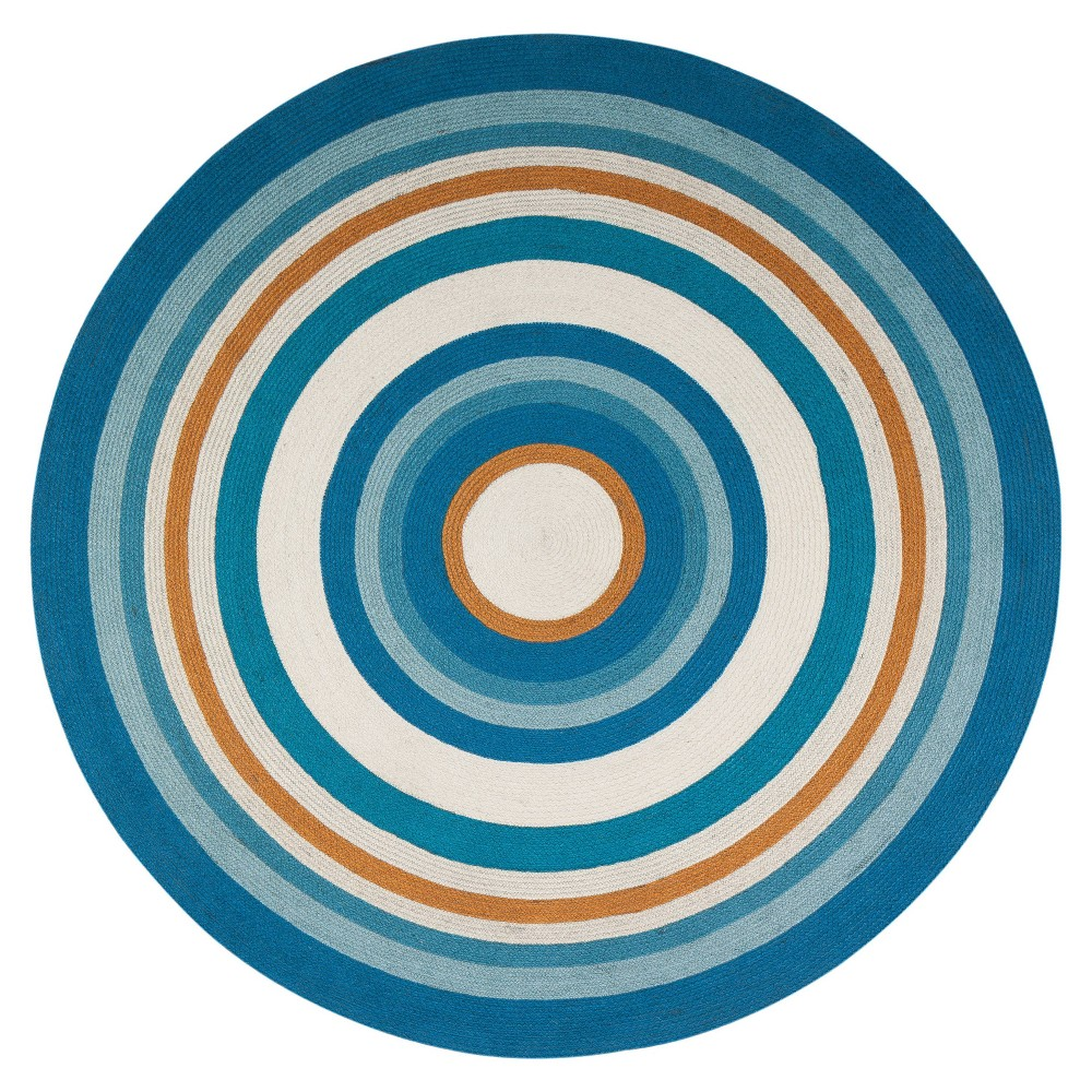 Concentric Jute Rug  - Anji Mountain 6' Round Concentric Jute Rug Blue/Orange - Anji Mountain Gender: unisex. Pattern: Shapes.