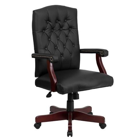 Martha Washington Black Leather Swivel Office Chair - Flash Furniture - image 1 of 4