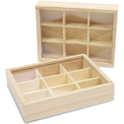 2 Pack Wooden Storage Tray Box with Glass Lid, 9 Compartments Storage Organizer for Tea Bags and Jewelry