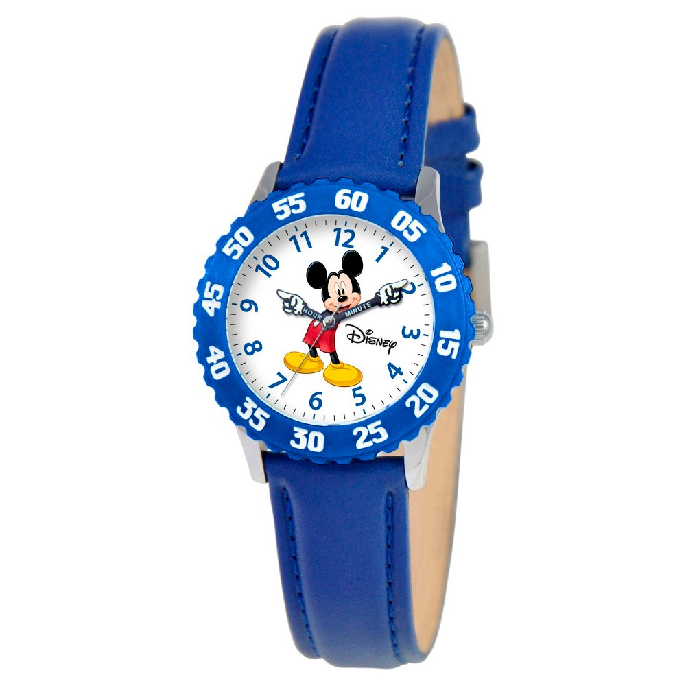 Boys' Disney Mickey Mouse Stainless Steel with Articulating Hands and Bezel Watch - Blue