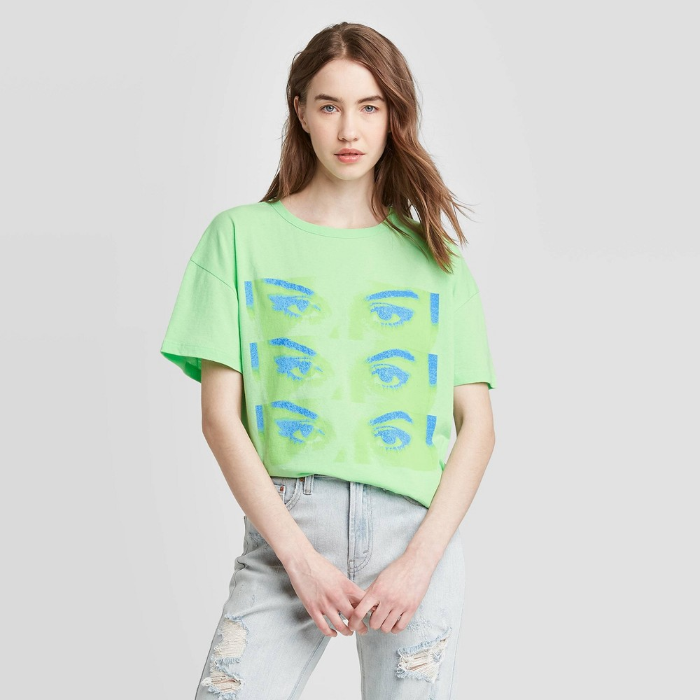 Image of Women's Selena Gomez Look At Her Now Short Sleeve Graphic T-Shirt - Bravado (Juniors') - Lime L, Women's, Size: Large, Green