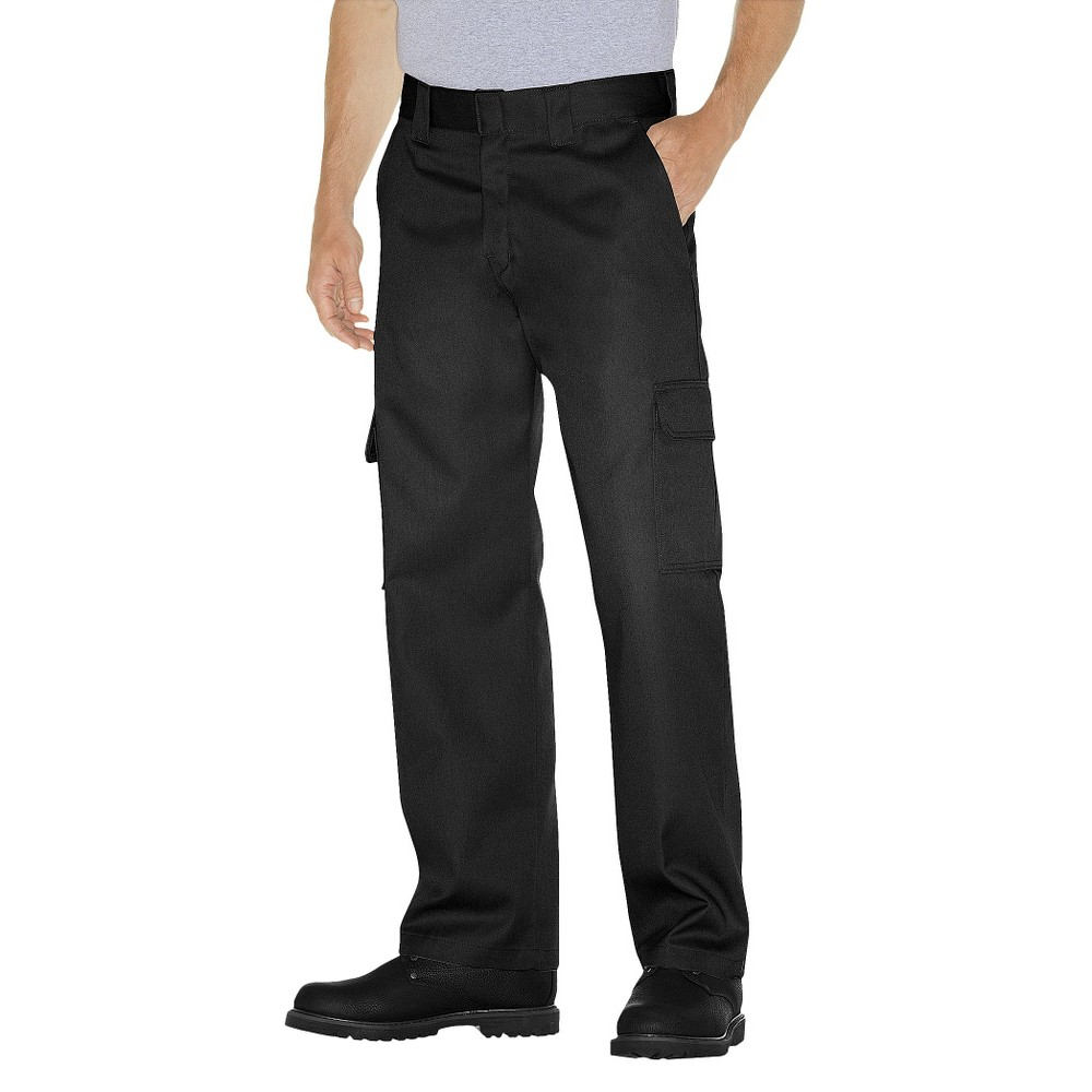 Dickies Men's Relaxed Straight Fit Twill Cargo Work Pants- Black 34x34