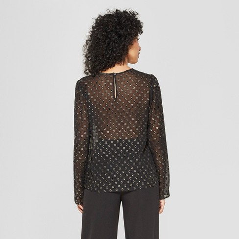 ce68ed3a Women's Polka Dot Long Sleeve Sheer Blouse - A New Day™ Black : Target