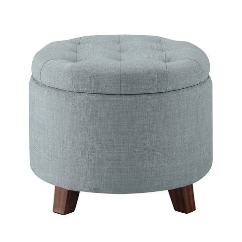 Astounding Tufted Round Storage Ottoman Heathered Gray Threshold Andrewgaddart Wooden Chair Designs For Living Room Andrewgaddartcom