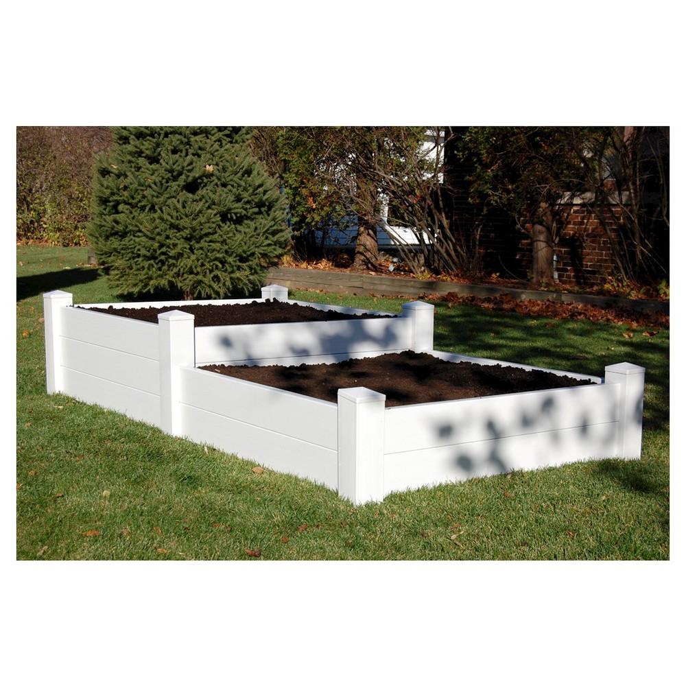 Image of 4' x8' Split Level Rectangular Planter Bed - Dura-Trel, White