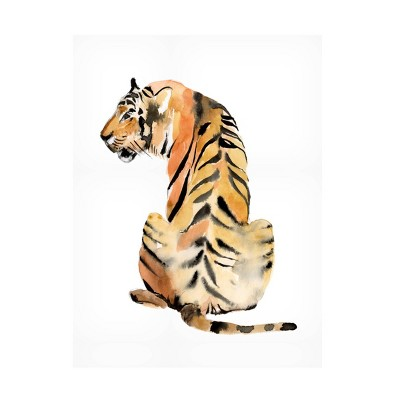 "14"" x 19"" Jennifer Goldberg 'Sitting Tiger II' Unframed Wall Canvas - Trademark Fine Art"
