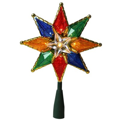 "Northlight 8"" Lighted Multi Color 8-Point Star Christmas Tree Topper - Clear Lights"