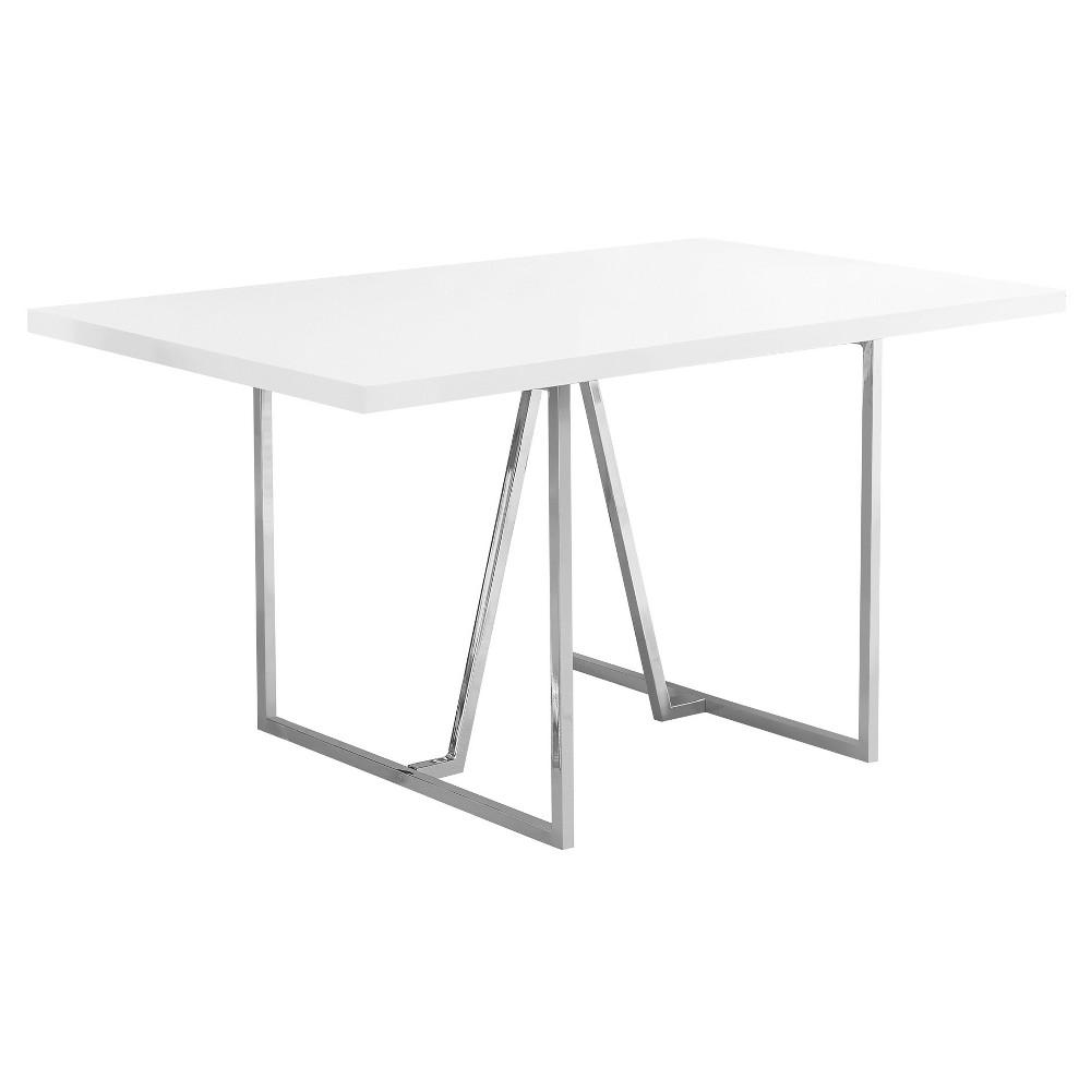 Dining Table - White, Chrome Metal - EveryRoom