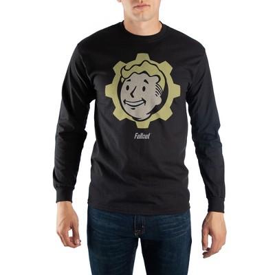 Fallout Mens Fallout Fallout Product Logo Regular Fit Long Sleeve Crew T-shirt - Black Small
