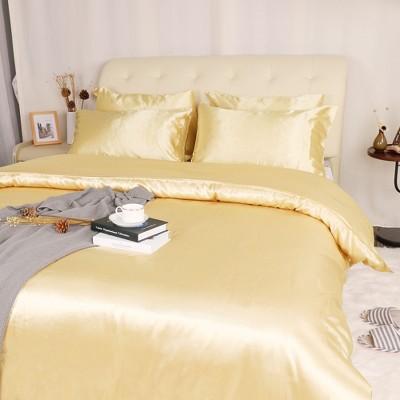 3 Pcs Polyester Satin Silk Solid Bedding Sets Queen Gold Tone - PiccoCasa