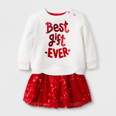 Baby Girls' 2pc Fleece Sweatshirt and Knit Bottom Set - Cat & Jack™ Red 0-3M
