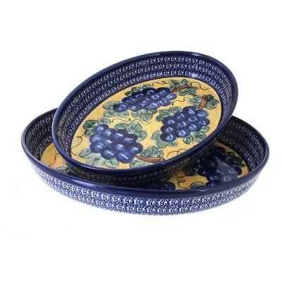 Blue Rose Polish Pottery Grapes Oval Baker Set