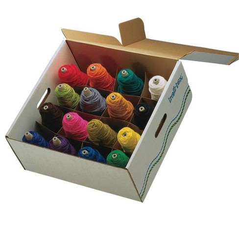 Trait-Tex Acrylic Standard-Weight Yarn 4 oz Cone Box Set, Assorted Bright and Intermediate Colors, set of 16 - image 1 of 1