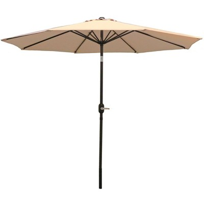 9' Aluminum Market Tilt Patio Umbrella - Beige - Sunnydaze Decor