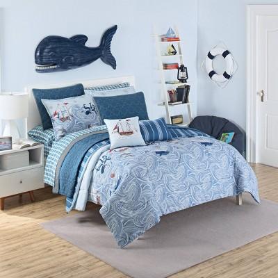 Ride the Waves Reversible Comforter Set Aqua - Waverly Kids