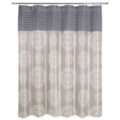 Medallion Ikat Shower Curtain Natural - Allure Home Creation