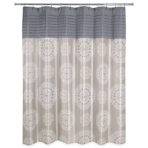 Medallion Ikat Shower Curtain Natural - Allure Home Creation - image 1 of 4