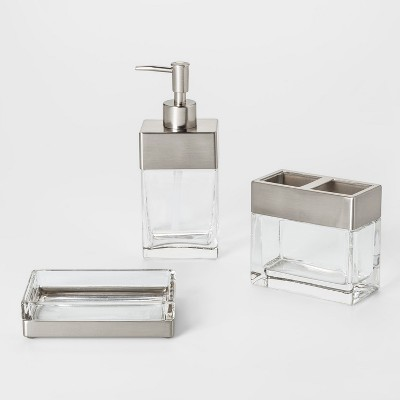 Rectangle Glass with Metal Bath Collection - Threshold™