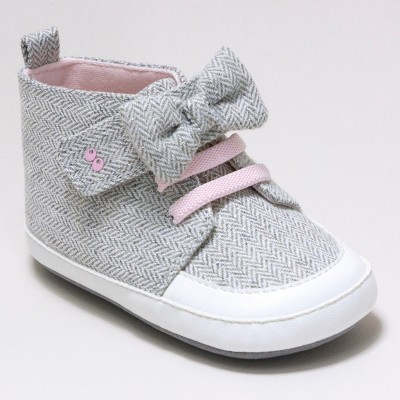 Baby Girls' Surprize by Stride Rite Sara High Top Sneaker Soft Sole Shoes - Grey 12-18M
