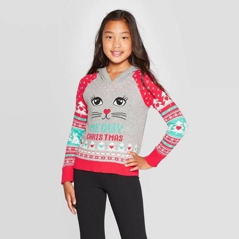 Christmas Sweaters Ugly.Well Worn Girls Meowy Fair Isle Ugly Christmas Sweater Gray