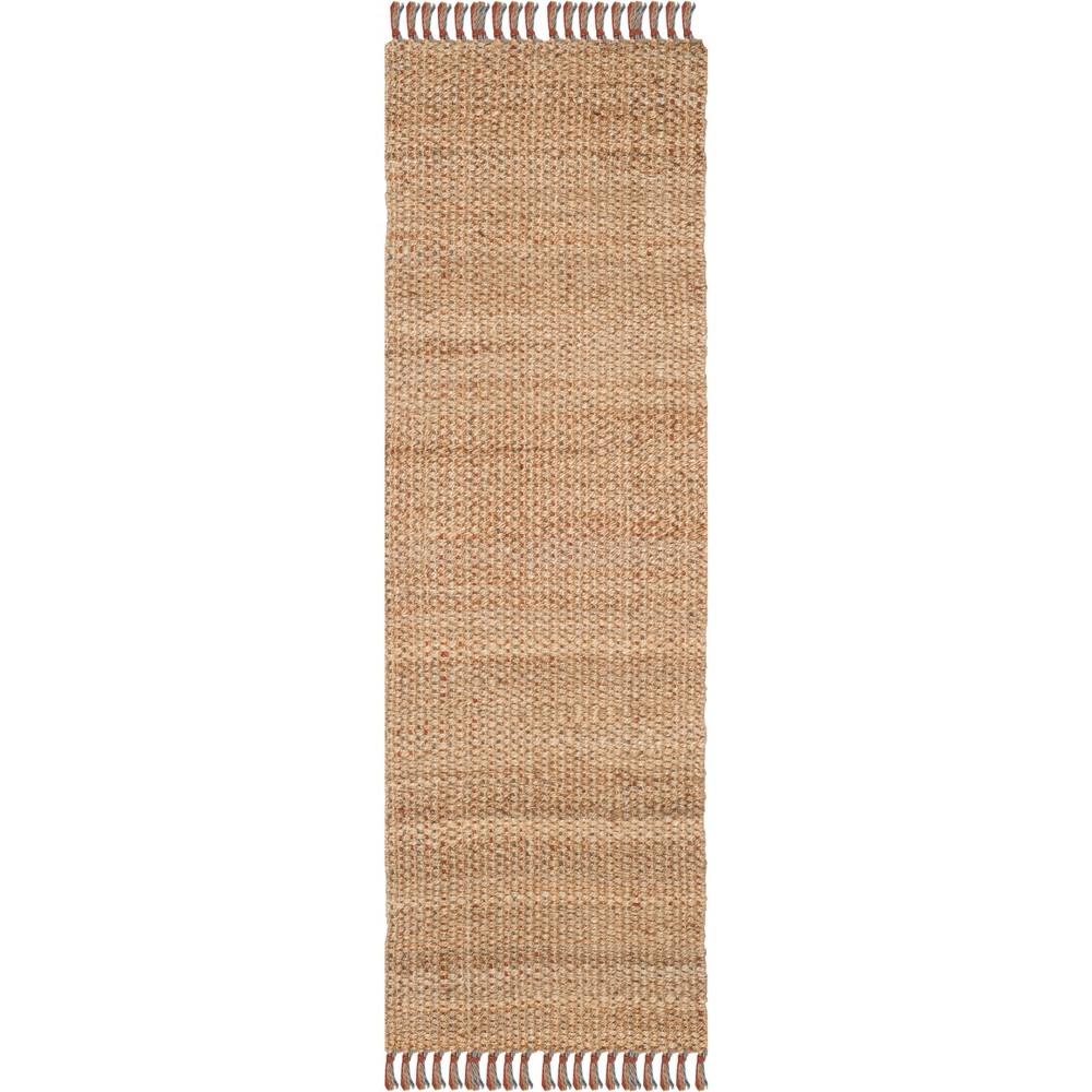 2'6X10' Solid Woven Runner Natural - Safavieh, White