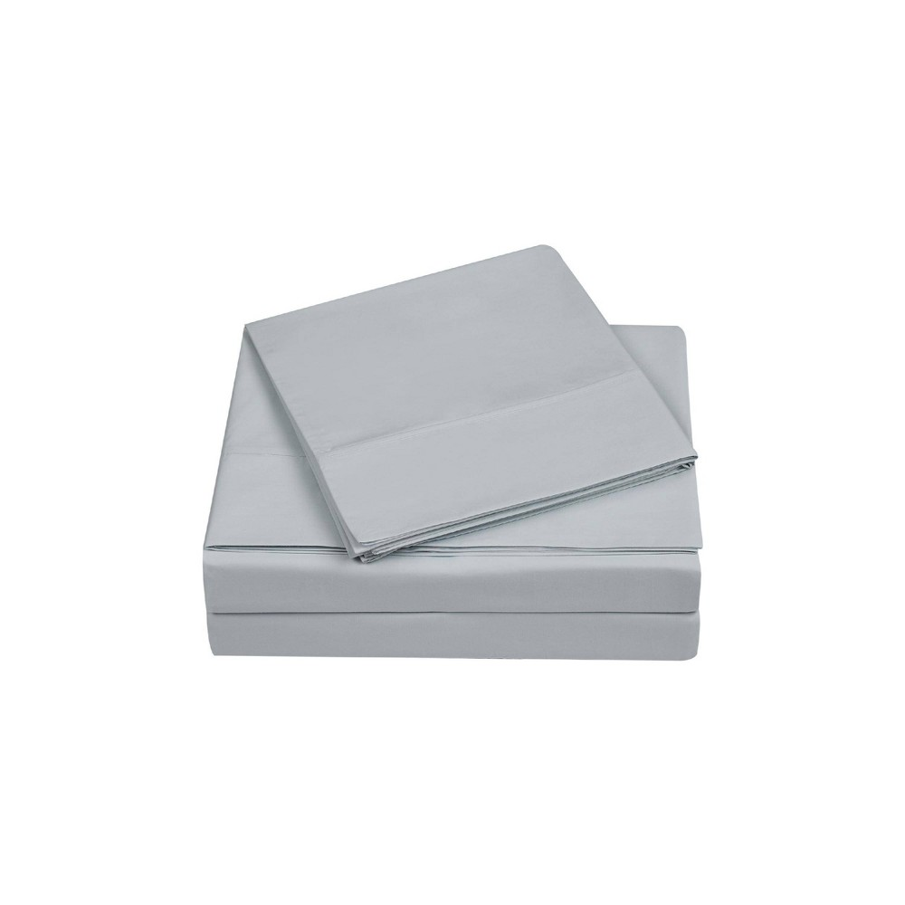 Queen 400 Thread Count Solid Percale Sheet Set Gray Charisma