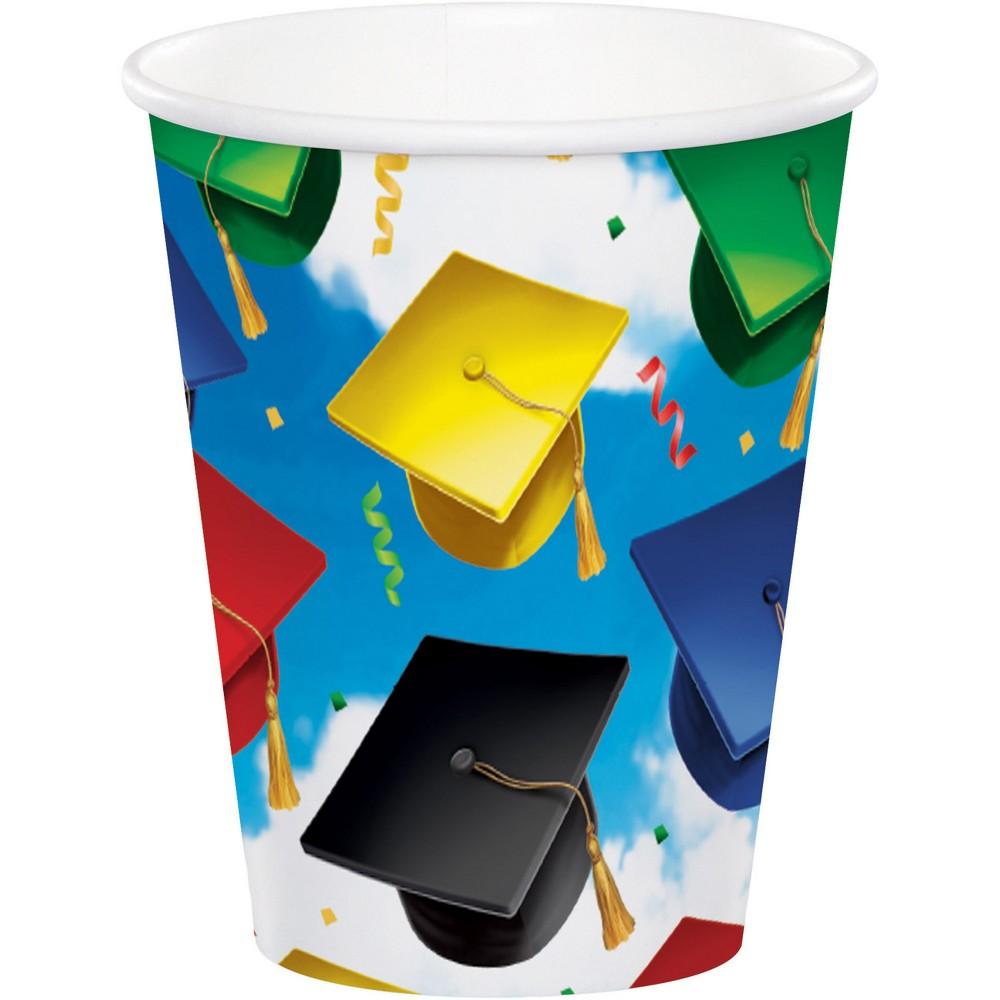 50ct Graduation Celebration Cups, Multi-Colored