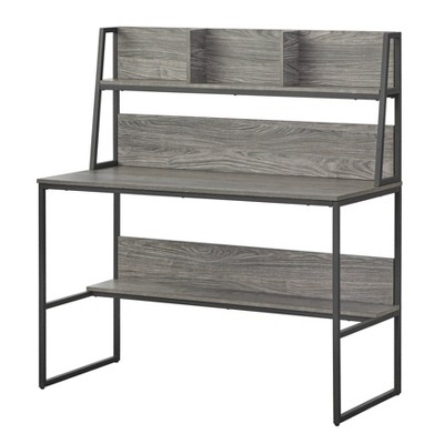 Vermillion Desk with Hutch Black/Gray - Buylateral