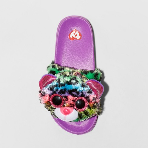 323f79d36387 Girls  Dotty Beanie BoosPool Slided Slippers - Purple XS   Target