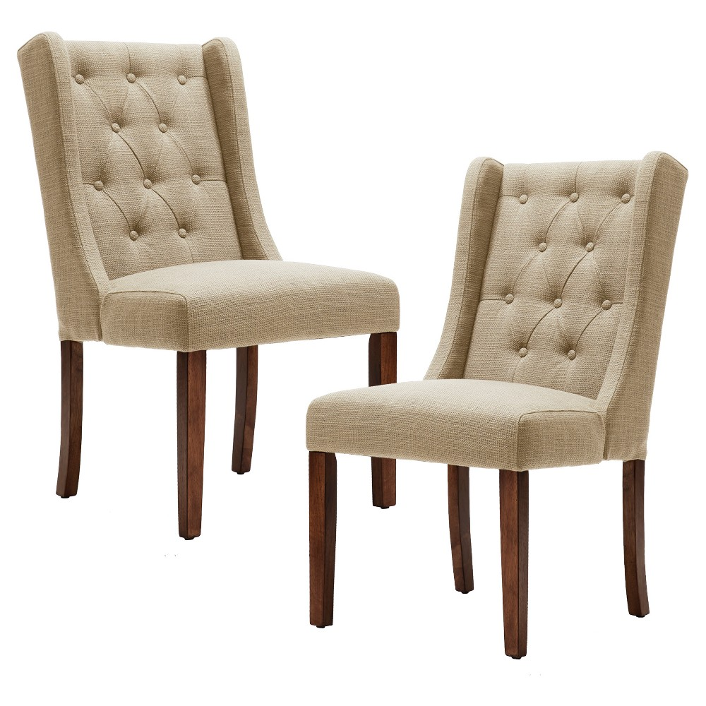 Set of 2 Dining Chairs Cream (Ivory)