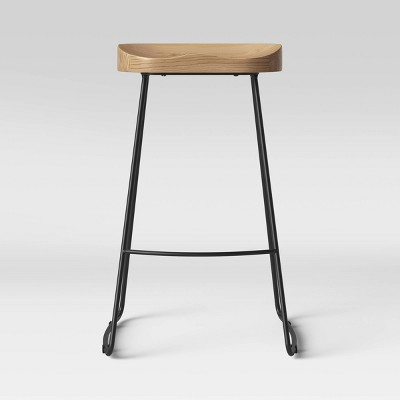 Hull Low Back Barstool Wood/Metal - Threshold™