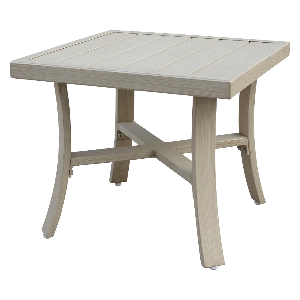 Torino Aluminum Outdoor Square End Table - Camel - Courtyard Casual