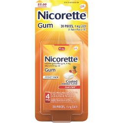 Nicorette 4mg Stop Smoking Aid Nicotine Gum - Fruit Chill - 20ct