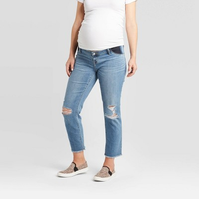 High-Rise Inset Panel Distressed Straight Maternity Jeans - Isabel Maternity by Ingrid & Isabel™ Blue