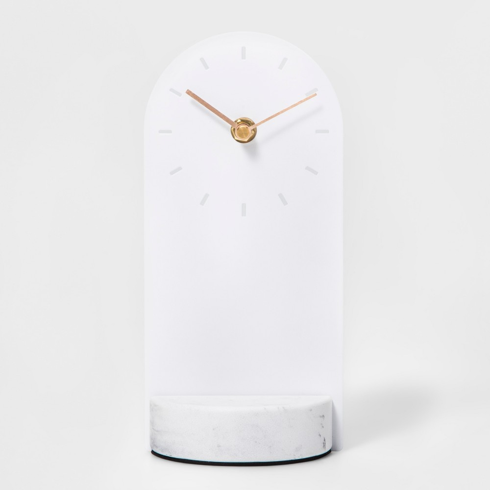 Metal & Marble Desk Clock White - Project 62