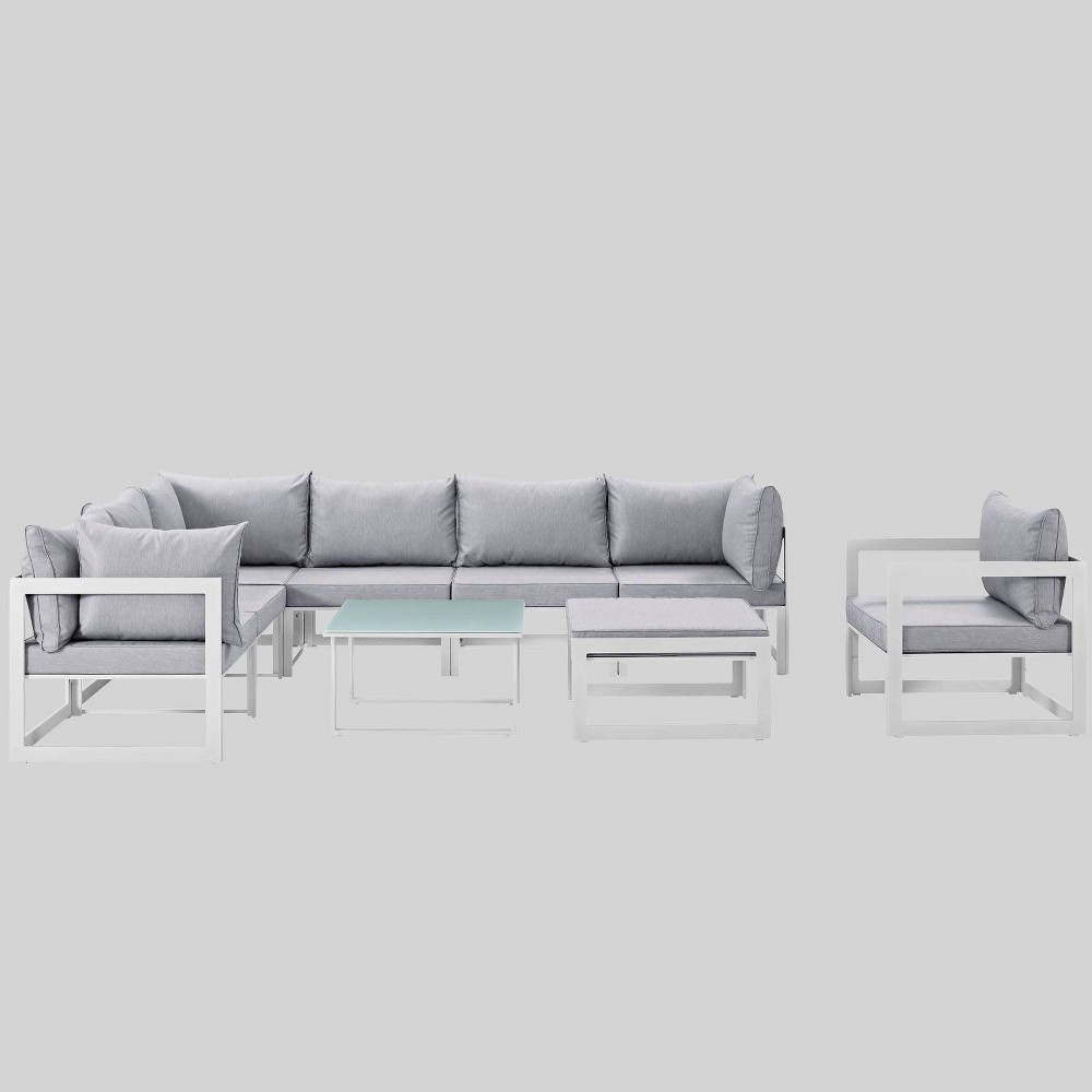 Fortuna 9pc Outdoor Patio Sectional Sofa Set - Gray - Modway